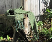 Forest Green Handwoven Scarf, Rustic Cottage Country Cabin Farmhouse Urban Fashion Woodland Menswear Womens Clothing Accessory