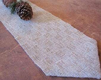 Short Rustic Gray Linen Table Runner, Hygge Winter Modern Farmhouse Decor Minimalist Natural Woodland Mountain Cabin French Country Decor