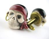 Mens Skull Cufflinks - Pirate Cuff Links Pirate Skull Unique Mens Cufflinks