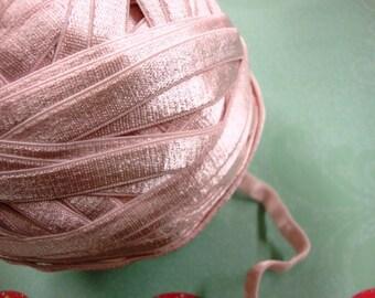 "3 yards 3/8"" width plush back baby pink lingerie satin elastic / stretch satin ribbon"