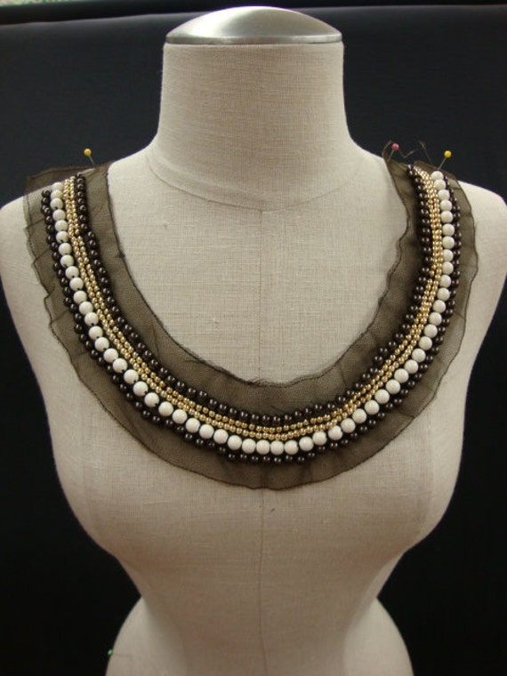 Neckline Applique Embellishment Necklace Beaded Beads on Tulle Brown