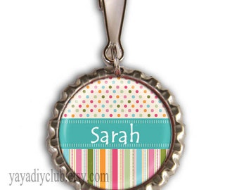 Kids Zipper Pull Charm, Girls Backpack Tags - Teal Blue Multicolor dots and stripes - kids birthday party favors