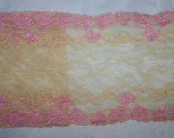 """2 yards baby pink pastel yellow stretch lingerie sewing lace 6"""" wide"""
