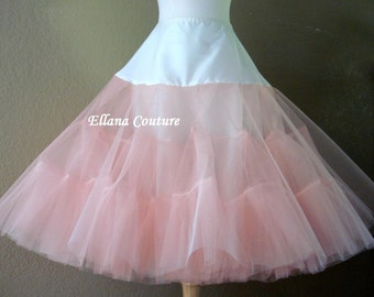 Ready to Ship in Size Large. DISCOUNTED PRICING. Peach Tea Length Crinoline. EXTRA Fullness Petticoat.