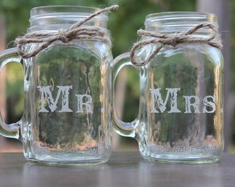 2 Engraved Mason Jar Mugs, Engagement Gift Glass, Couples Gift, Personalized wedding gift, Wedding Present