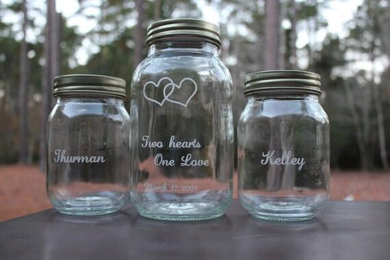 3 Piece Personalized Mason Jar Sand Ceremony Set Wedding