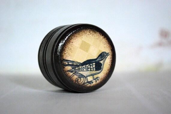 Folk Art Bird Pill Box