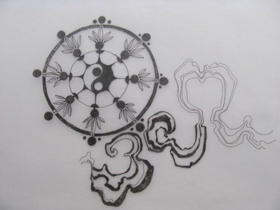 articles similaires tatouage symbole la roue de la vie avec des rubans de style asiatique. Black Bedroom Furniture Sets. Home Design Ideas