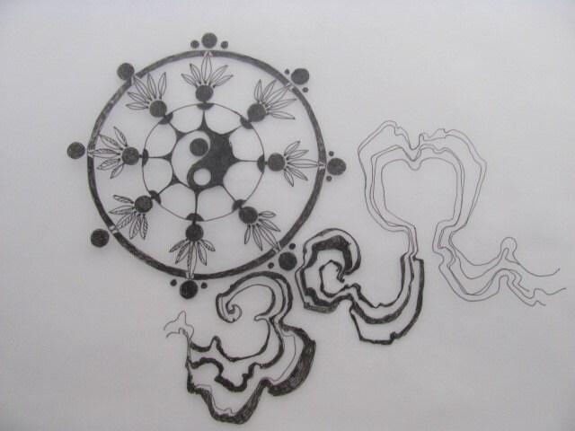 tatouage symbole la roue de la vie avec des rubans de style. Black Bedroom Furniture Sets. Home Design Ideas
