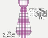 1 Little Guy Hunky Tie Purple Plaid Printable DIY Iron On Tie Decal, baby, boys, Iron on tie for bodysuits and tshirts