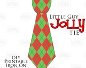 Instant Download 1 Little Guy Jolly Tie Christmas Argyle Iron On Tie Decal, baby tie, boy Christmas Iron on tie for bodysuits shirts