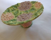 Majolica Small Cake Stand, Display Stand, Hydrangea Motif, Party or Vintage Style Wedding Decor
