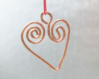 Heart hammered copper wedding ornament