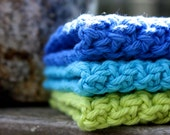 Set of Three Cotton Washcloths, Lime Green, Bright Blue & Turquoise