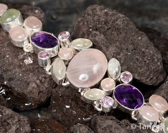 Gemstone Bracelet, Fine Jewelry, Etsy Sterling Silver bracelet,Amethyst Rose Quartz Opal in Solid silver bracelet  by TANEESI Jewelry