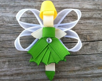 Fairy Hair Clip, Toddler Hair Clip, Tinkerbell Hair Clip, Girls Hair Accessories, Fairy Ribbon Hair Clip, Girls Hair Bows