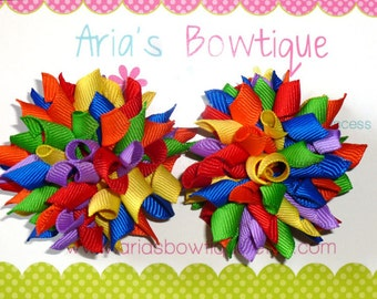 Rainbow Bright  Mini Korker Hair Bows