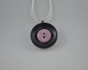 """Sterling silver with black & pink flower vintage buttons, pendant necklace, 18"""""""