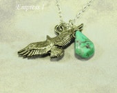 Turquoise and Flying Eagle Necklace In Silver