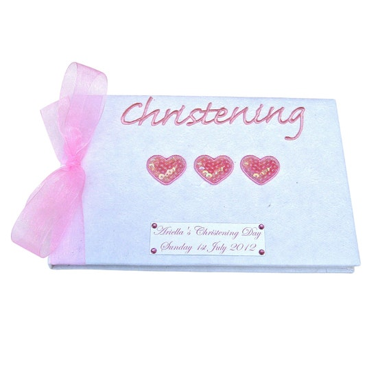 Personalised Baby Girl's Hearts Christening Guest Book
