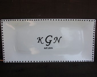 Custom Wedding Signature Guestbook Platter - Personalized with Monogram Initials, Date and Dot Border