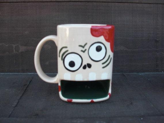 Nom Nom Nom BRAINS - Whimsical Zombie Ceramic Cookies and Milk Dunk Mug - Flesh Color