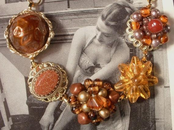 Vintage Autumn Brown Beaded Heirloom Cluster Earring Bracelet STUNNING and OOAK