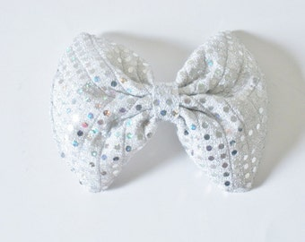 Sequin Hair Bow, Silver Hair Bow, Iridescent Shimmery Shiny