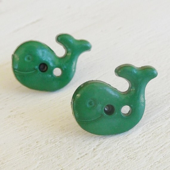 titanium hypoallergenic posts green whale studs on titanium posts for sensitive earlobes, hypoallergenic nickel free kids earrings for girls