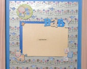 CLEARANCE Baby Boy Premade Memory Album Page (White Wash Veneer Shadow Box Frame Sold Separately)