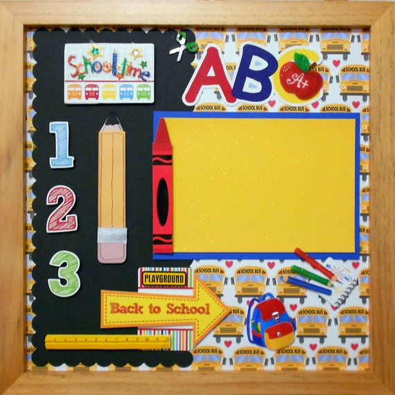 BACK TO SCHOOL Memory Album Page (Natural Veneer Shadow Box Frame Sold Separately)