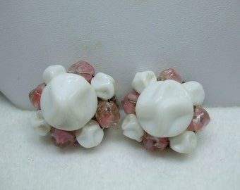 """Vintage white and amber bead clip on cluster bead earrings signed west germany 1"""""""