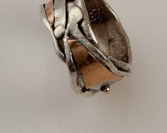 Ring Size 8 - Sterling Silver And Gold Handmade From Israel