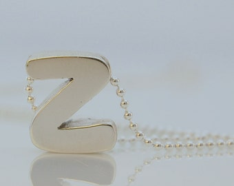 Petite Letter Z Pendant in Sterling Silver, Sterling Silver Bead Chain