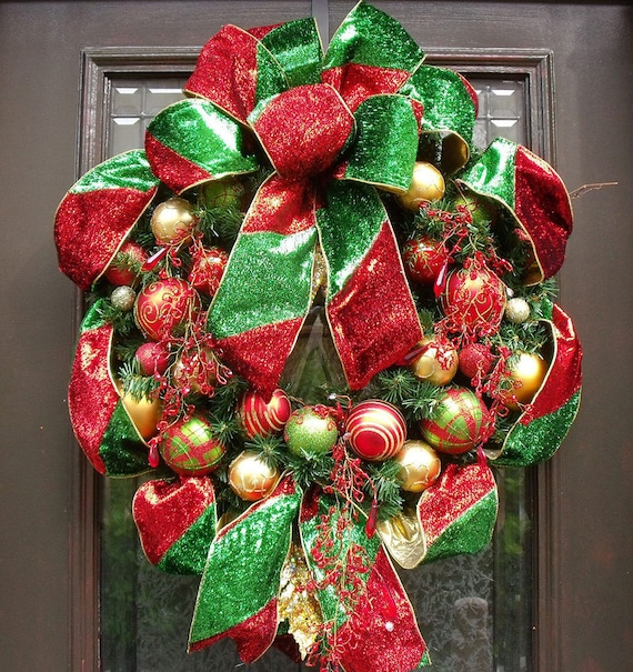 Christmas Wreath, Ribbon Wreath, Ornament Wreath Christmas, Designer Door Wreath, Red and Green