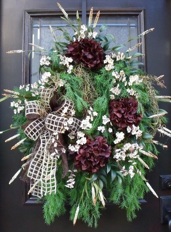Fall Hydrangea Wreath, Fall Wreaths, Front Door Wreaths, Hydrangea Wreath, Brown and Cream