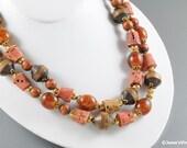 Vintage Multi Necklace Wood & Cork Autumn Earthtones
