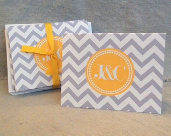 Personalized Notecards - Gray and Yellow Chevron
