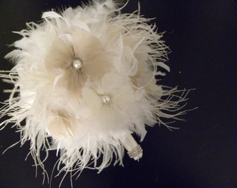 12 piece Ivory,Champagne,Taupe ostrich fringe feather bridal/bridesmaid bouquet package