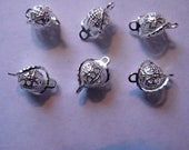 Link, Silver plated, brass, wrapped filigree, connector, 7mm, Pkg Of 16