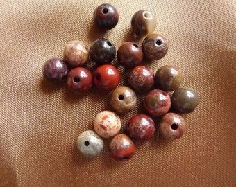 Bead, Rainbow Jasper, Gemstone, Natural, 8mm, round, B grade, Pkg of 12