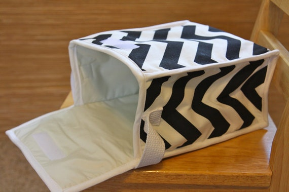 Chevron Lunch Bag - Black and White