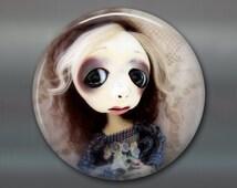 "3.5"" gothic doll fridge magnet, large magnet, kitchen decor, gift for doll collector, gothic art decor, original art magnet MA-AD49"