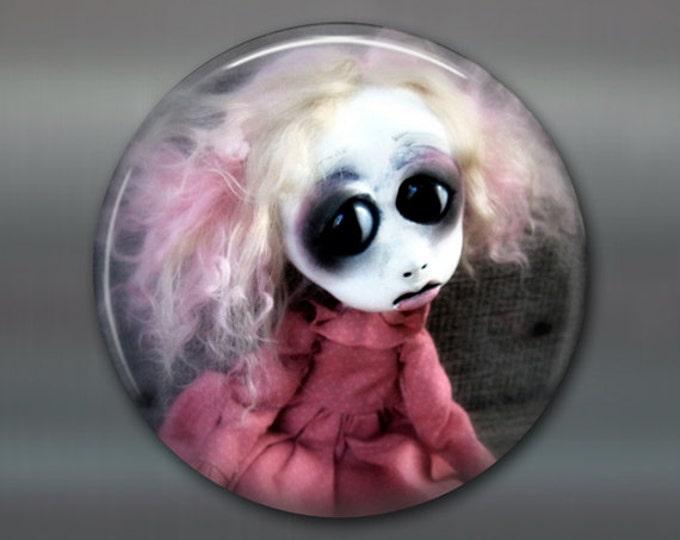 "3.5"" gothic doll fridge magnet, large magnet, kitchen decor, gothic art decor, stocking stuffer gift for her MA-AD34"