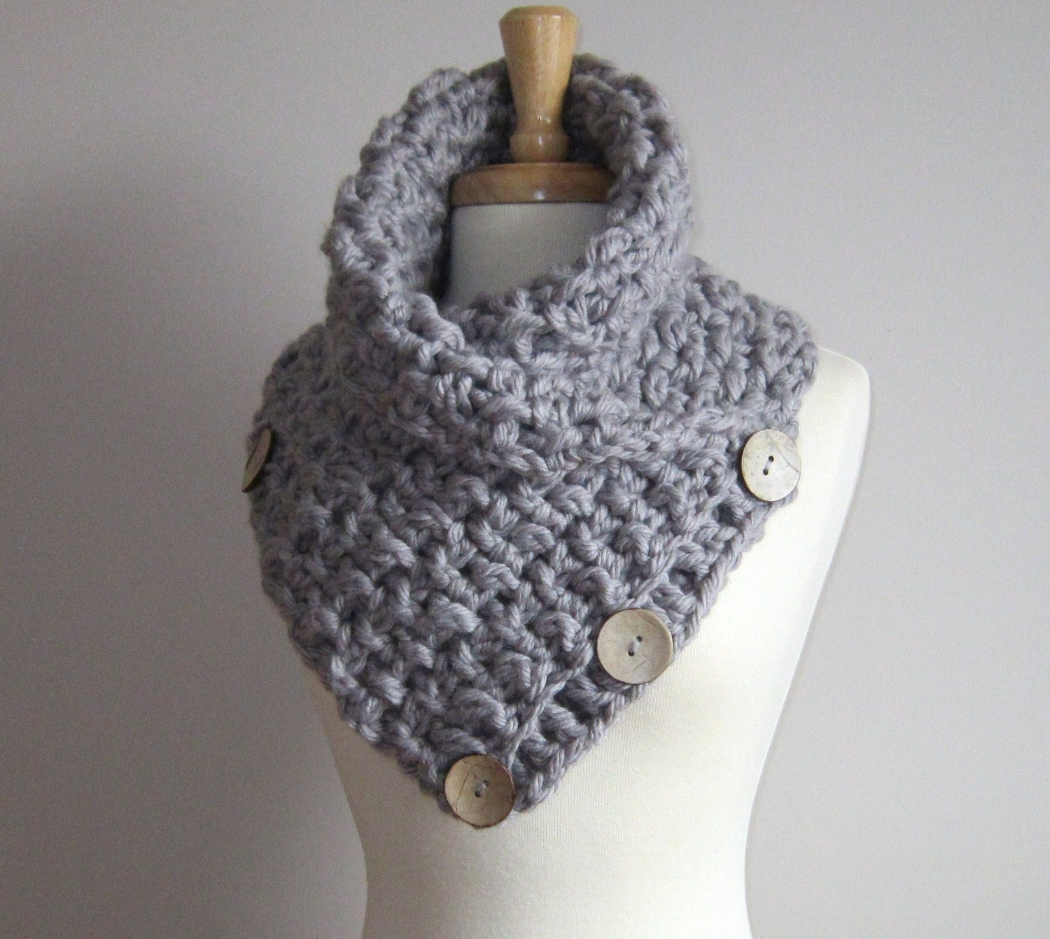 crochet scarflette scarf with buttons grey by warmmeup on etsy