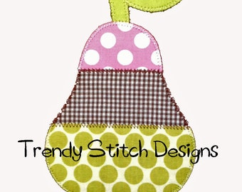 Pear 3 Applique Design Machine Embroidery Design Back to School INSTANT DOWNLOAD