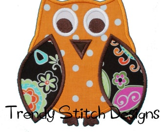 Owl Applique Design Machine Embroidery Design INSTANT DOWNLOAD