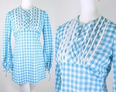 60s mini dress / 60s minidress / 60s dress / 60s turquoise gingham check minidress / 60s empire waist dress / Pineapple Hart