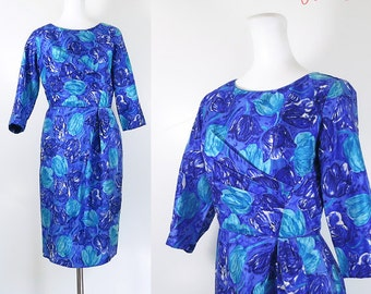 50s 60s silk wiggle dress / 50s 60s dress / cobalt blue aqua floral silk vintage dress / 50s 60s mad men style dress / Du-Rite Canada