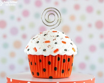 Halloween Mini Fake Cupcake Photo Note Holder Orange and Black Polka Dot #CUP187